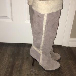Faux fur/shearling lined heeled boots size 7.5